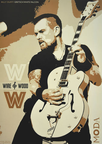 Wire,+,Wood,Poster,(UNSIGNED),Billy Duffy Poster The Cult Gretsch White Falcon