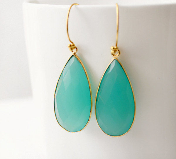 Long Aqua Chalcedony Earrings, Blue Green Dangle, Aqua Gemstone Drop Earrings, 24k Gold Vermeil - product images  of