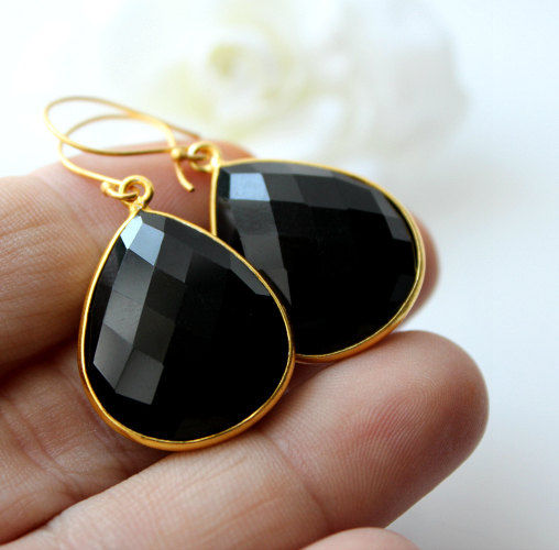 Medium Black Onyx Gold Drop Earrings, Black Bezel Dangle, Jet Black Gemstone Earrings, 24k Gold Vermeil, Evening Wear - product images  of