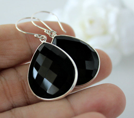 Medium Black Onyx Dangle Earrings, 925 Sterling Silver, Jet Black Bezel Gemstone, Black  Drops, Black Onyx Jewelry - product images  of