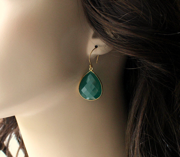 Medium Green Onyx Dangle Earrings, Emerald Green Bezel Gemstone, Gold Vermeil Drop Earrings, Fashion trend, Large Green Teardrop - product images  of