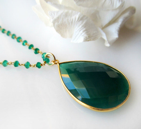 Long Green Onyx Rosary Necklace, Emerald Green, Green Gemstone Pendant, May Birthstone, 24 inches long, Gold Vermeil - product images  of