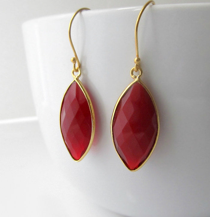 Red Quartz Marquise Drop Earrings, Cherry Red, Red Bezel Dangle, 24k Gold Vermeil, Bright Red - product images  of