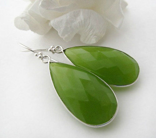 Long Green Chalcedony Earrings, Apple Green Dangle, Green Gemstone Drop, .925 Sterling Silver, Chartreuse - product images  of