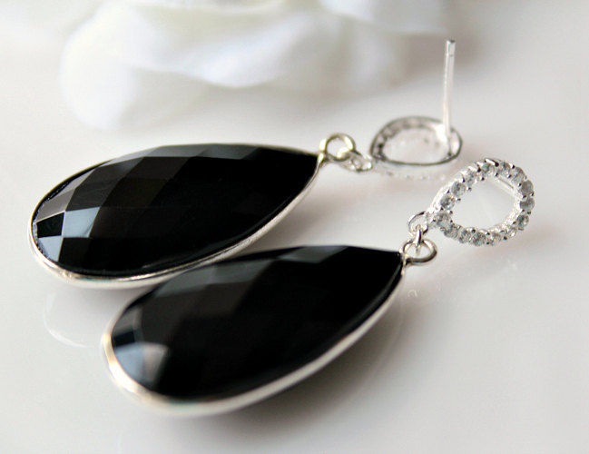 Long Black Onyx Sterling  Earrings, Black Gemstone and Cubic Zirconia Dual Dangle, Jet Black, 925 Sterling Silver, Teardrop - product images  of