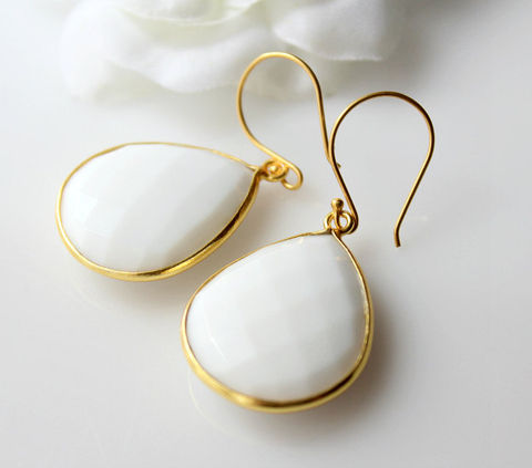 Medium,White,Onyx,Gold,Drop,Earrings,,Bezel,Dangle,,Teardrop,Gemstone,24k,Vermeil,,Opaque,Jewelry,Earrings,Dangle,gemstone_earrings,teardrop_earrings,gold_vermeil_dangle,bygerene,natural_white_onyx,large_white_stone,white_gemstones,white_earrings,white_bezel_dangle,white_onyx_earrings,gold_white_earrings,white_framed_stone,white_teardrop,24k G