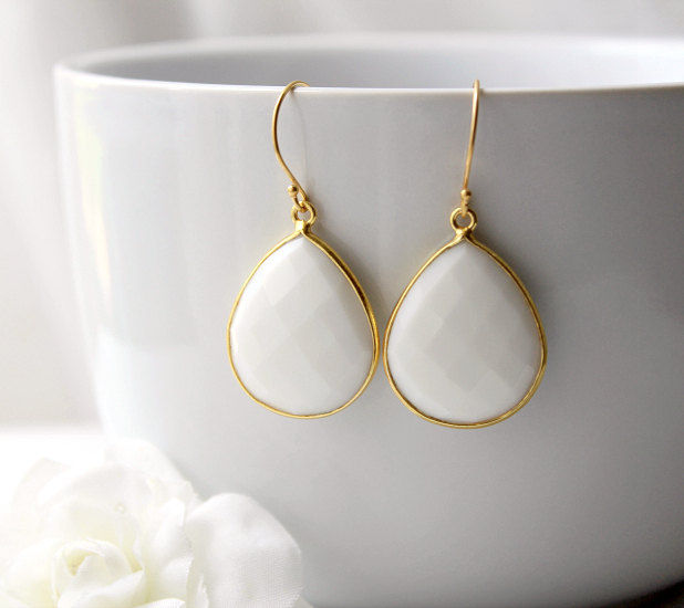 Medium White Onyx Gold Drop Earrings, White Bezel Dangle, Teardrop Gemstone Earrings, 24k Gold Vermeil, Opaque White - product images  of