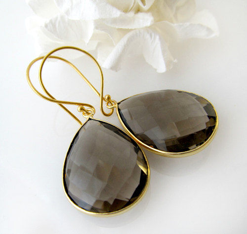 Smokey Quartz Pear Drop Earrings, Genuine Gemstone Teardrops, Brown Bezel Dangle Earrings, Brown Gemstone, 24K Gold Vermeil - product images  of