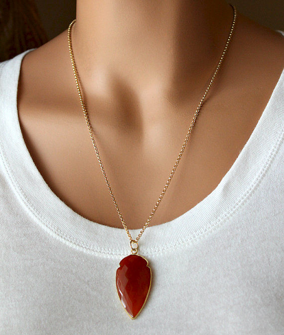 Large Red Carnelian Arrowhead Pendant Necklace, Burnt Red Gemstone, Garnet Rosary Style, Arrow Head Necklace - product images
