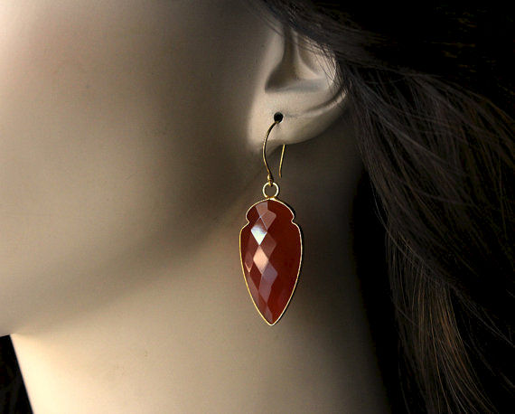 Arrow Red Carnelian Drop Earrings, Burnt Red Dangle, Red Gemstone, Carnelian Jewelry, Dagger Earrings - product images  of
