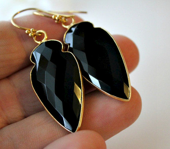 Arrow Head Black Onyx Drop Earrings, Jet Black Gemstone Dangle, Onyx Jewelry, Dagger Earrings - product images  of
