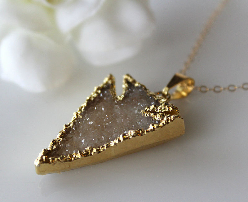Beige Druzy Arrowhead Pendant, Necklace, Dagger Sparkling Pendant, Arrow Head Druzy Pendant, Off White, Natural Druzy Jewelery - product images  of