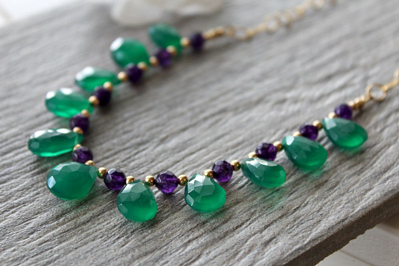 Green Onyx and Amethyst Necklace, Emerald Green, Green Gemstone, May Birthstone, 14k Gold filled  Green Teardrop Necklace - product images  of