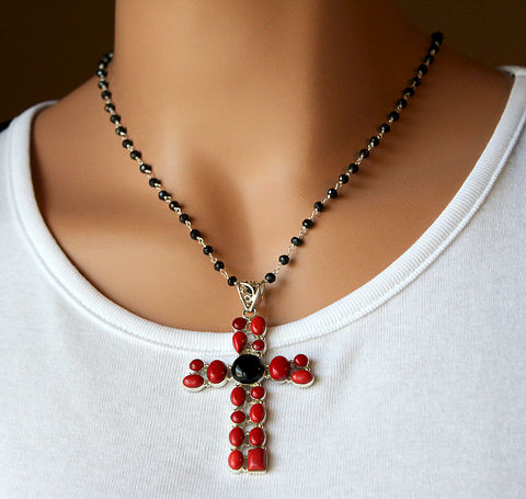 Huge,Red,Coral,and,Onyx,Cross,Pendant,Necklace,,925,Sterling,Silver,,Black,Onyx,,Extra,Large,Cross,,Rosary,,Religious,Jewelry,Necklace,Stone,bygerene,925_Sterling_Silver,Black_Onyx,Extra_Large_Cross,Religious_Jewelry,Huge_Cross,Red_Coral_Pendant,Black_Red_Cross,Long_Rosary,Pendant_Necklace,Statement_Necklace,Rosary_Necklace,Extra_long,925 Sterling Silver,Black Onyx,Red C
