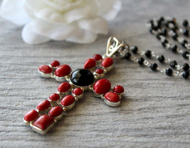 Huge Red Coral and Onyx Cross Pendant Necklace, 925 Sterling Silver, Black Onyx, Extra Large Cross, Rosary,  Religious Jewelry - product images  of