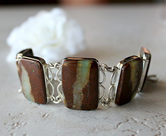 Stripe Raw Chrysoprase Bracelet, 925 Sterling Silver, Organic Stone, Australian Chrysoprase, Green and Brown Stone, OOAK - product images  of