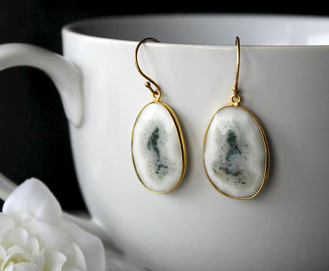 Large,Solar,Quartz,Gold,Drop,Earrings,,Natural,Stone,,Organic,,White,Quartz,,Druzy,Gemstones,,Teardrops,Jewelry,Earrings,Dangle,gemstone_earrings,24k_gold_vermeil,gold_vermeil_dangle,bygerene,large_white_stones,large_white_teardrop,white_bezel,white_and_gold,white_Drop_earrings,opaque_white,white_gemstone,white_solar_Quartz,White_druzy,24k Gold vermeil earw