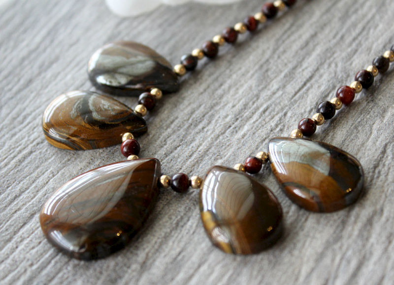 Tigers Eye Bib Necklace, 14k Gold filled, Brown Stone, Statement Necklace, Beaded Necklace, Fan Necklace, Natural stones - product images  of