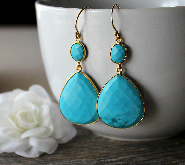 Extra Large Blue Turquoise Double Drop Earrings, Genuine Turquoise, Large Blue Stones, Turquoise Jewelry, Gold Vermeil, Large  Blue Dangles - product images  of