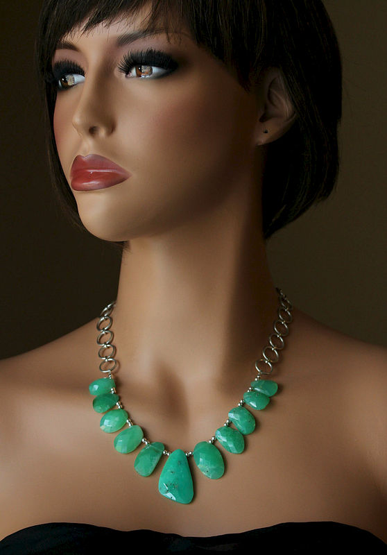 Raw Green Chrysoprase Bib Necklace, Statement Necklace, Brazilian Chrysoprase, Large Stone Necklace, 925 Sterling Silver Chain, OOAK - product images  of