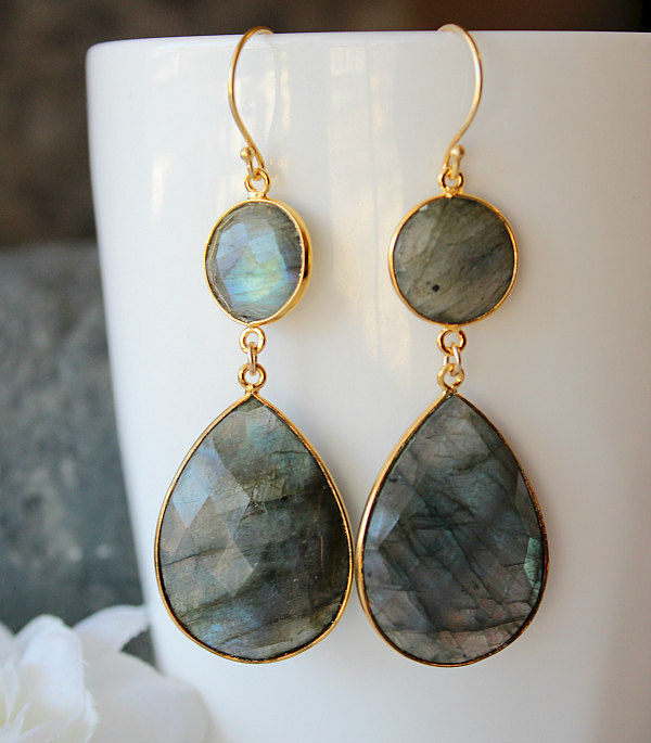 Flash Labradorite Double Drop Earrings, Blue Gray Gemstone, Grey Stone Dangle, Gold Vermeil, Real Housewives, Kyle Richards Inspired - product images  of