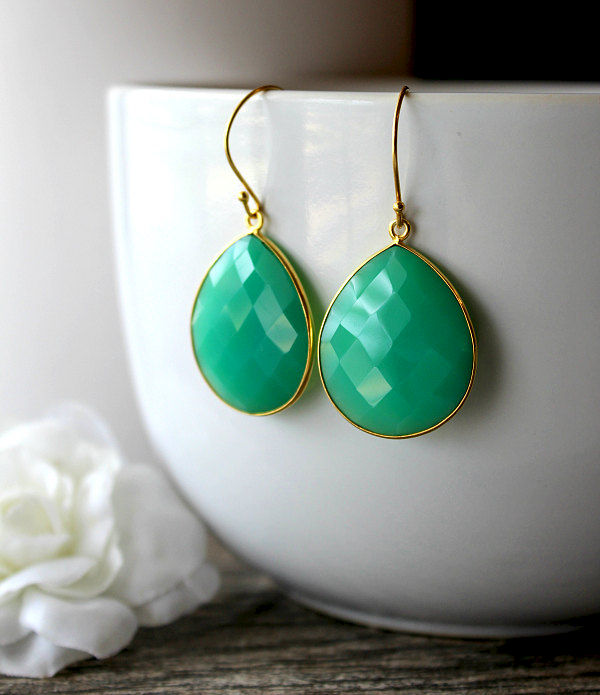 Medium Chrysoprase Green Chalcedony Drop Earrings, Emerald Green, Large Dangle, Large Drop, Gold Vermeil, Huge Teardrop - product images  of