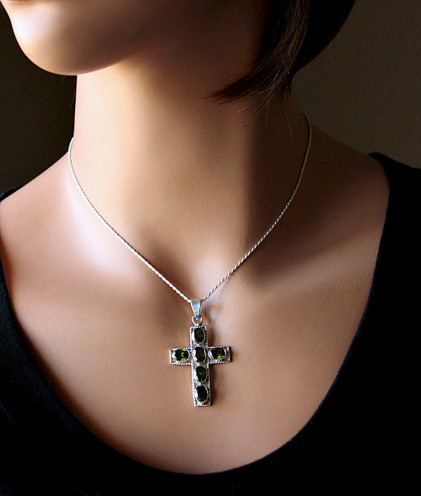 Green Peridot Cross Pendant Necklace, 925 Sterling Silver, Large Green Cross, Olivine Gemstone Cross, August Birthstone - product images  of