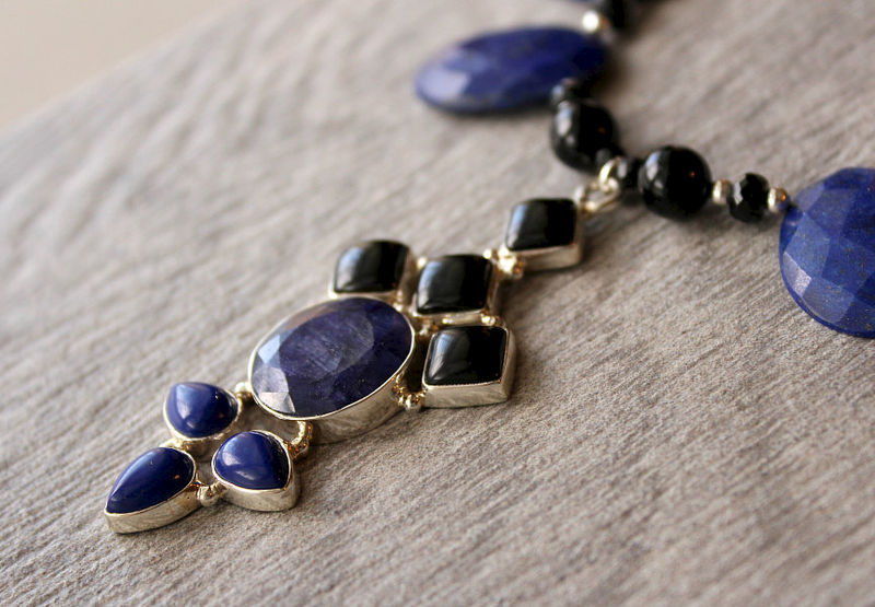 Huge Lapis Lazuli and Black Onyx Bib Pendant Necklace, 925 Sterling Silver, Blue Oval Stone Necklace, Statement Necklace, OOAK - product images  of