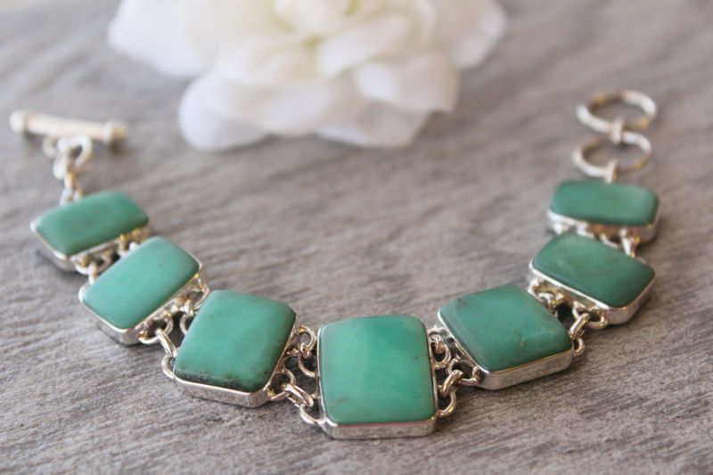 Green Chrysoprase Bracelet, 925 Sterling Silver, Organic Stone, Australian Chrysoprase, Green Stone, OOAK - product images  of