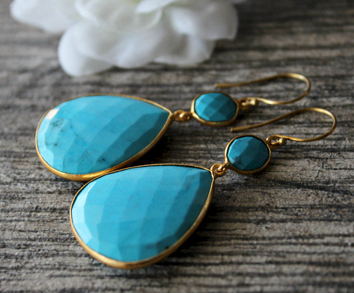 Large Blue Turquoise Double Drop Earrings, Genuine Turquoise, Large Blue Stones, Turquoise Jewelry, Gold Vermeil, Large  Blue Dangles - product images  of