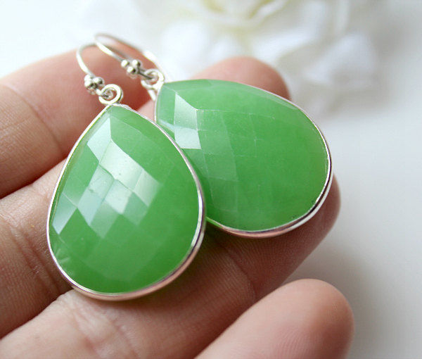 Large Green Chrysoprase Sterling Earrings, Brazilian Chrysoprase, Large Green Gemstone, 925 Sterling Silver, Large Teardrops - product images  of