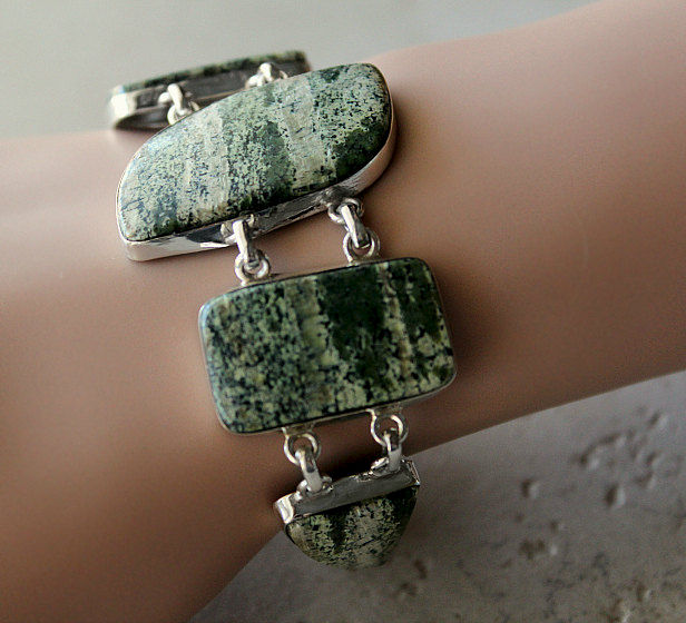 Moss Agate Stone Bracelet, Green Bracelet, 925 Sterling Silver, Green Moss Agate Jewelry, Chunky Bracelet - product images  of