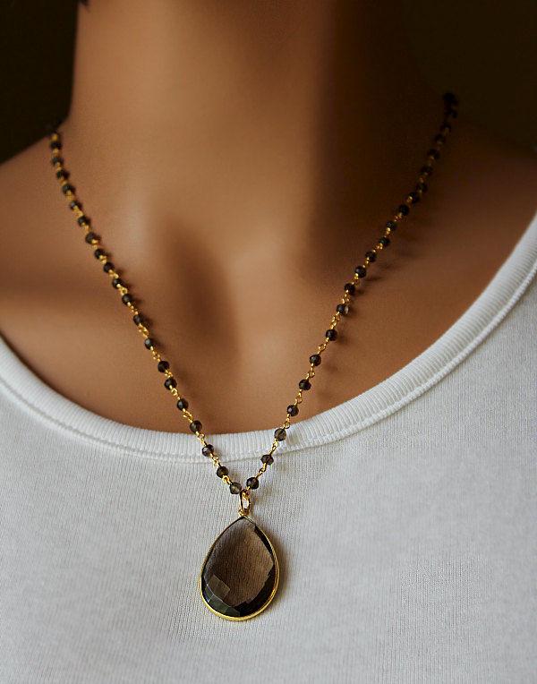 Large Smokey Quartz Pendant Necklace