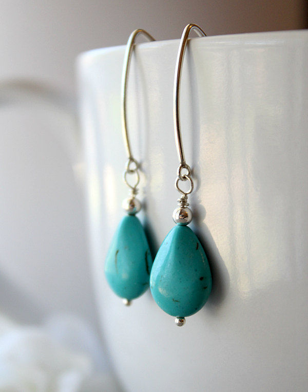 Long Blue Magnesite Dangle Earrings, 925 Sterling Silver, Oval Shape Earrings, Turquoise Color, Long Drop, Blue Magnesite Jewelry - product images  of