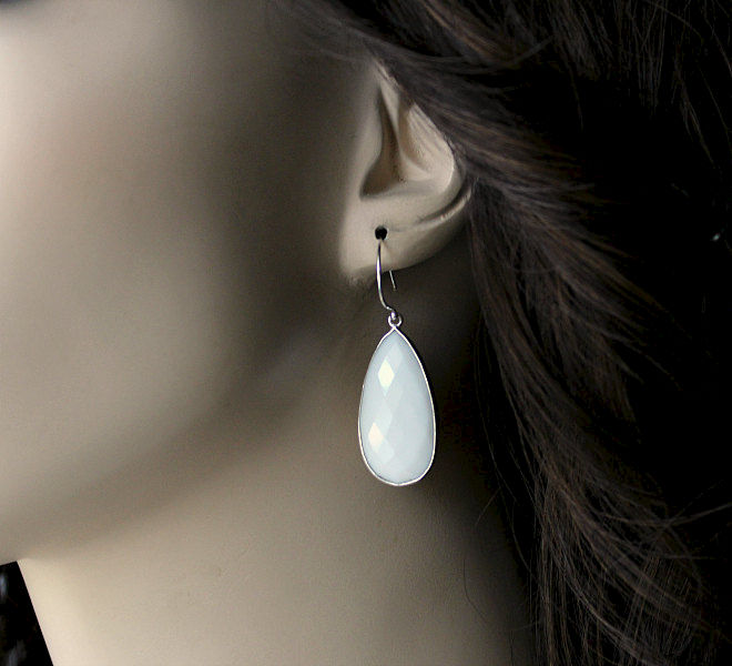 Long White Onyx Sterling Drop Earrings, White Gemstone Dangle, 925 Sterling Silver, White Onyx Jewelry - product images  of
