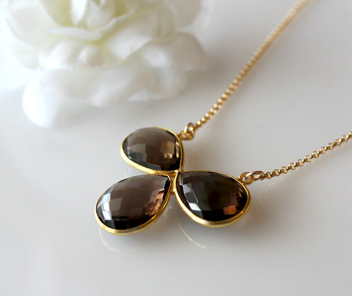 Large Smokey Quartz Pendant Necklace, Statement Necklace, Chocolate Brown Pendant, Gold Vermeil - product images  of