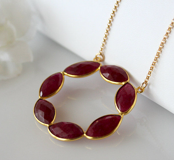 Large Dyed Ruby Statement Necklace Ruby Red Pendant