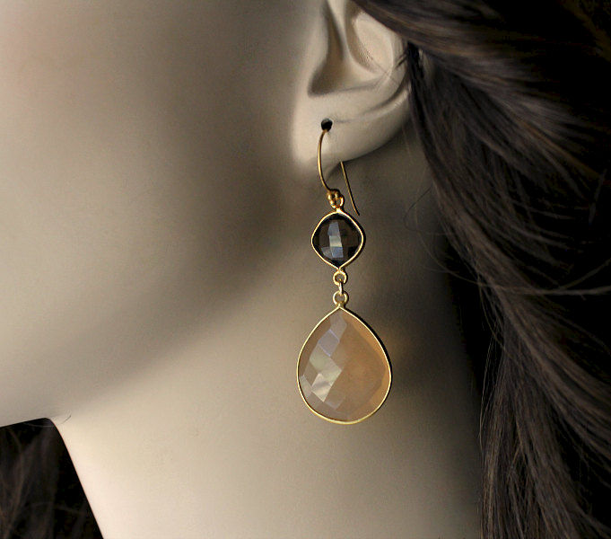 Long Beige Chalcedony Double Drop Earrings, Smokey Quartz, Nude Gemstone Earrings, Gold Vermeil, Chamoise, Sand Chalcedony - product images  of
