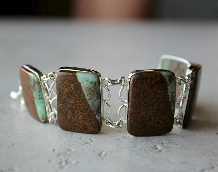 SALE Stripe Raw Chrysoprase Bracelet, 925 Sterling Silver, Organic Stone, Australian Chrysoprase, Green and Brown Stone, OOAK - product images  of