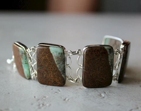 SALE,Stripe,Raw,Chrysoprase,Bracelet,,925,Sterling,Silver,,Organic,Stone,,Australian,Chrysoprase,,Green,and,Brown,OOAK,Jewelry,Bracelet,Stone,bygerene,green_chrysoprase,crysoprase_stone,chrysoprase_jewelry,raw_green_gemstone,925_sterling_silver,brown_and_green,green_stone_bracelet,Organic_Stone,Chrysoprase_Bracelet,Australian_stone,Green_and_Brown,brown_stone_bracelet