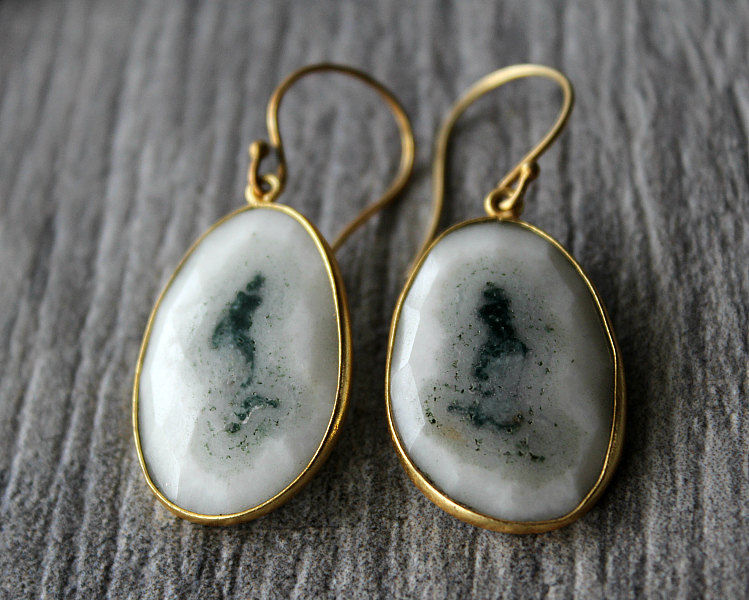 Large Solar Quartz Gold Drop Earrings, Natural Stone, Organic, White Solar Quartz, White Druzy Gemstones, Teardrops - product images  of