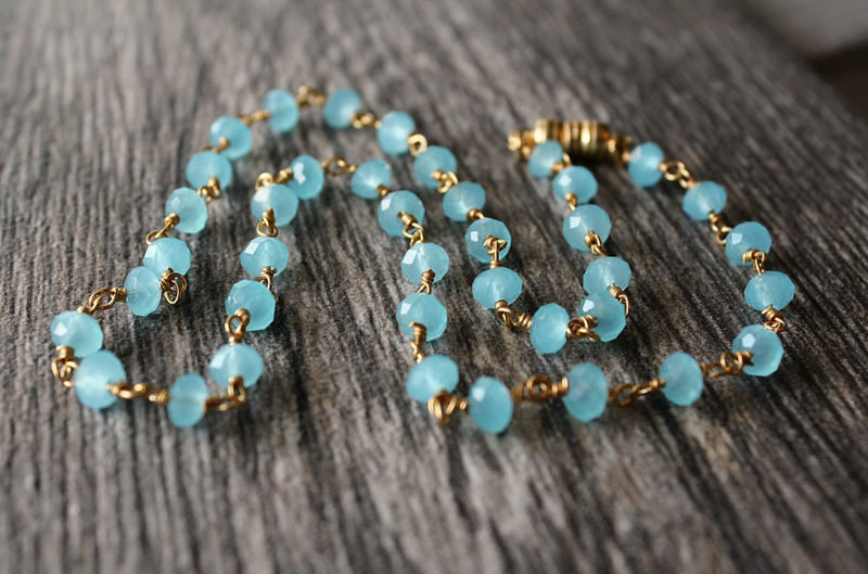 Aqua Chalcedony Beaded Strand Necklace, Blue Gemstone, Gold Vermeil, Blue Faceted Stone Necklace, Magnetic Clasp, Aqua Chalcedony Jewelry - product images  of
