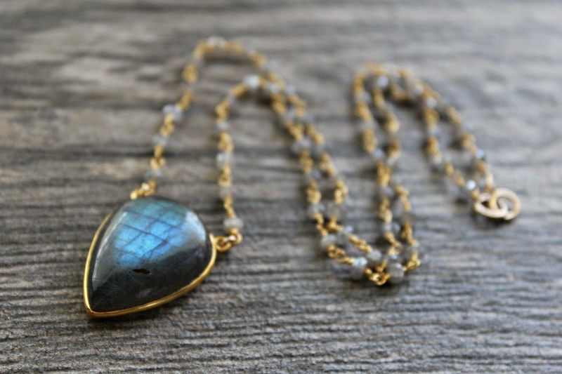 Blue Flash Labradorite Pendant Rosary Style Necklace, Grey Gemstone Pendant, Pear Shape Labradorite Pendant,  Labradorite Jewelry - product images  of