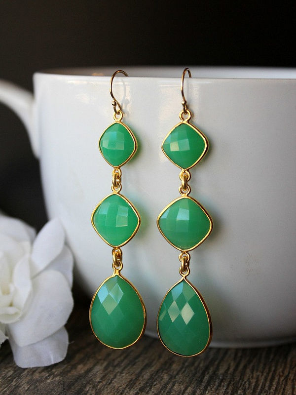 Long  Drop Green Chalcedony  Earrings, 3 tiers, Cascade, gold filled Jewelry, Chrysoprase Green, Long Dangles, Triple drop - product images  of