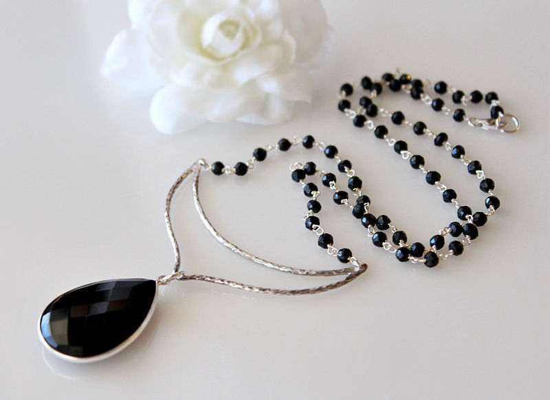 Chevron Black Onyx Pendant Necklace, 925 Sterling Silver Jet Black, Black Onyx Rosary Style, Statement Necklace, Crescent Festoon Moon - product images  of