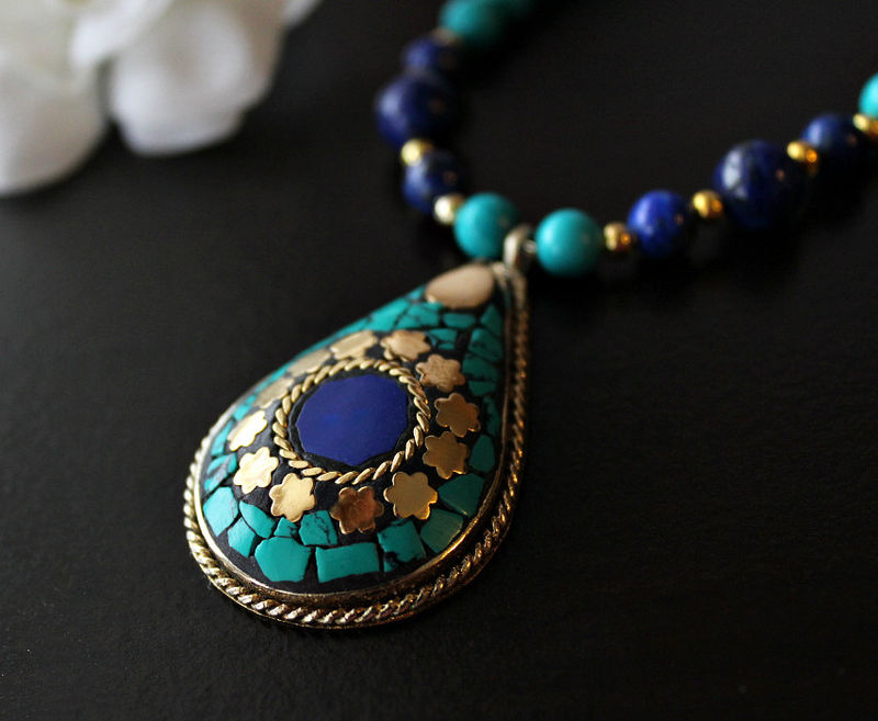 Lapis and Turquoise Statement Necklace, Nepalese Lapis Lazuli Necklace, Blue Gold Jewelry, Tribal jewelry, Tibetan  Jewelry - product images  of