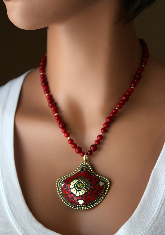 Statement Necklace, Nepalese Red Coral Necklace, Coral Gold Jewelry, Tribal jewelry, Tibetan  Jewelry - product images  of
