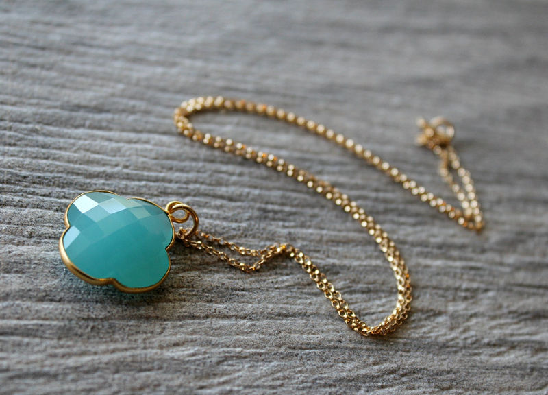 Aqua Clover Shaped Pendant Necklace, Clover Gemstone, , 14k Gold filled, Aqua Chalcedony Jewelry - product images  of