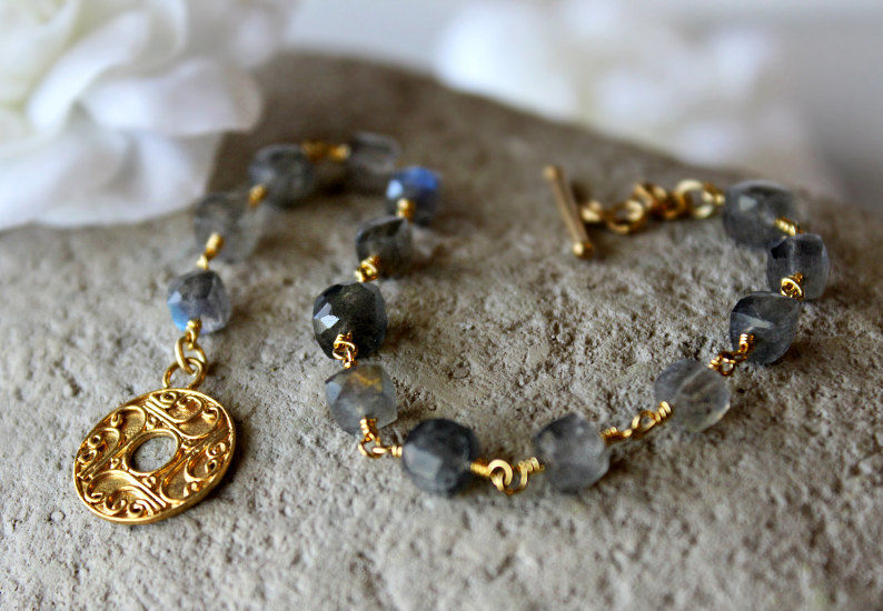 Flash Laboradite Bracelet, Grey Gemstone, Gold Vermeil, Blue Grey, Wire Wrapped, Beaded Bracelet, Gifts Under 50 - product images  of