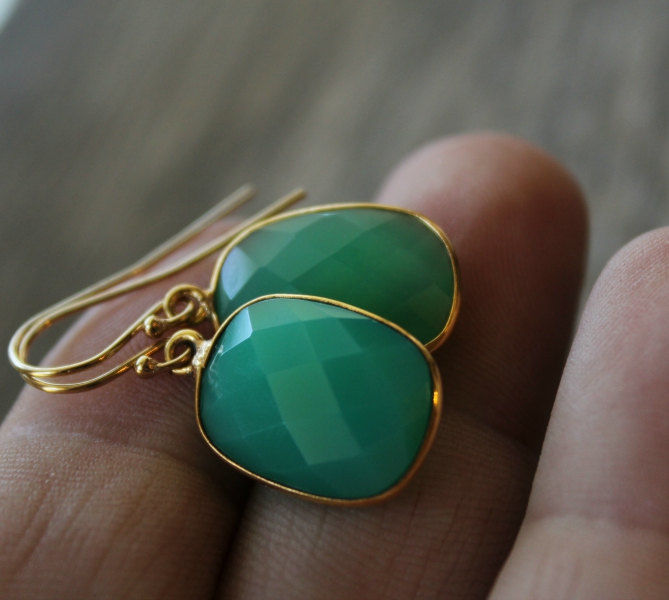 Small Chrysoprase Green Chalcedony Drop Earrings, Emerald Green, Large Dangle, Large Drop, Gold Vermeil, Huge Teardrop - product images  of